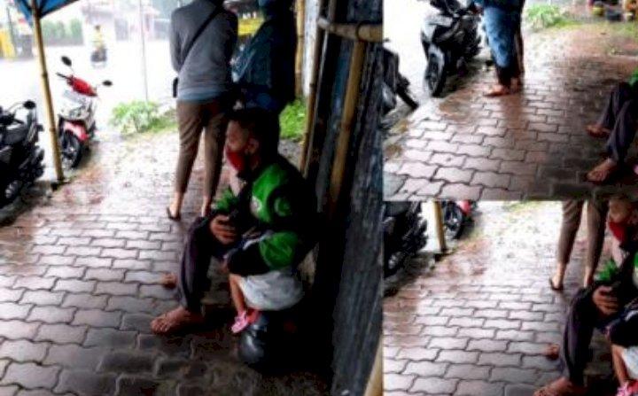 Viral Ojek Online Kehujanan Peluk Anak, Bikin Hati Terenyuh dengar Kisahnya