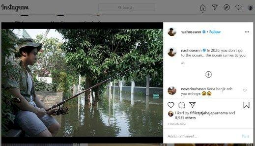 Perumahan Pantai Mutiara Banjir, Nicholas Putra Ahok Posting Lagi Mancing: Ocean Comes to You