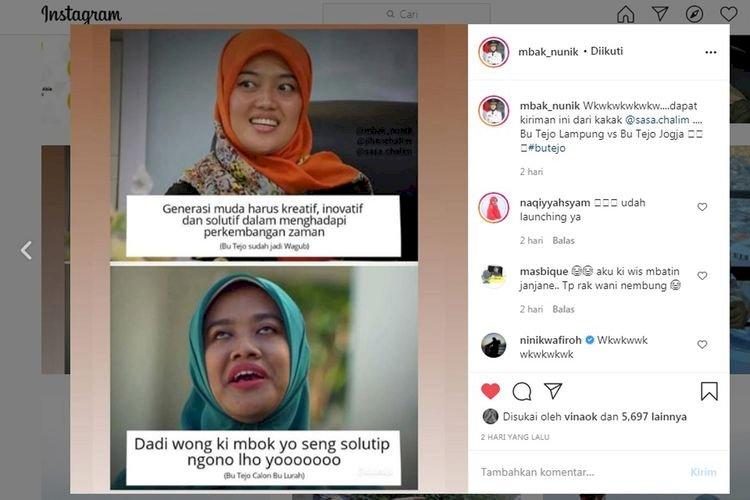 Viral Foto Wajah Wakil Gubernur Chusnunia Disebut Mirip Bu Tejo di Film 'Tilik', Benarkah?