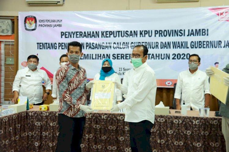 KPU Resmi Tetapkan Pasangan Haris-Sani Sebagai Cagub dan Cawagub Jambi