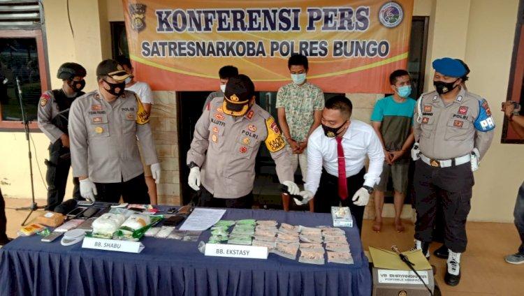 Polres Bungo-Jambi Ungkap Jaringan Narkoba Internasional, 2 Kilo Sabu dan 3.007 Ekstasi Diamankan