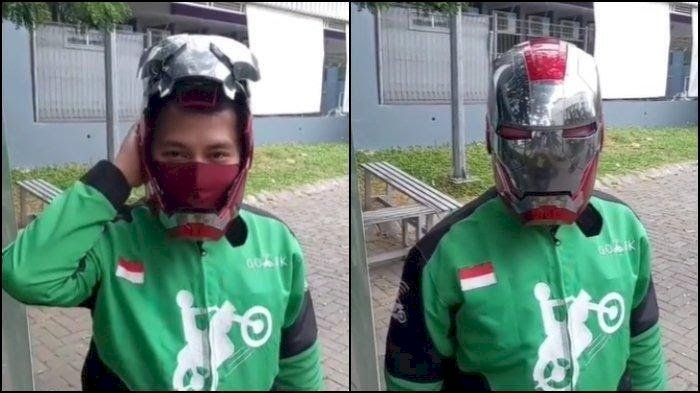 Keren! Driver Ojol Pakai Helm Iron Man, Segini Harganya...