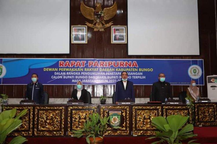 Gunakan Protokol Kesehatan, DPRD Tetapkan Bupati dan Wabup Bungo Terpilih