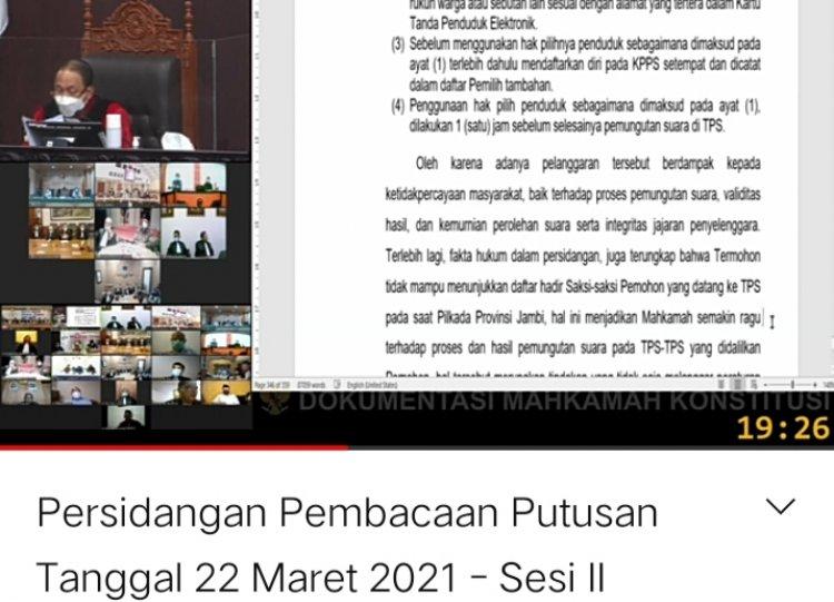Breaking News!!! Permohonan CE- Ratu Dikabulkan, Hakim MK Putuskan PSU di 88 TPS