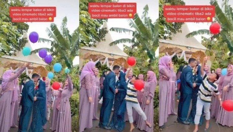 Bocah Ini Bikin Momen Romantis Pengantin Jadi Rusak Saat Ambil Balon, Videonya Viral!