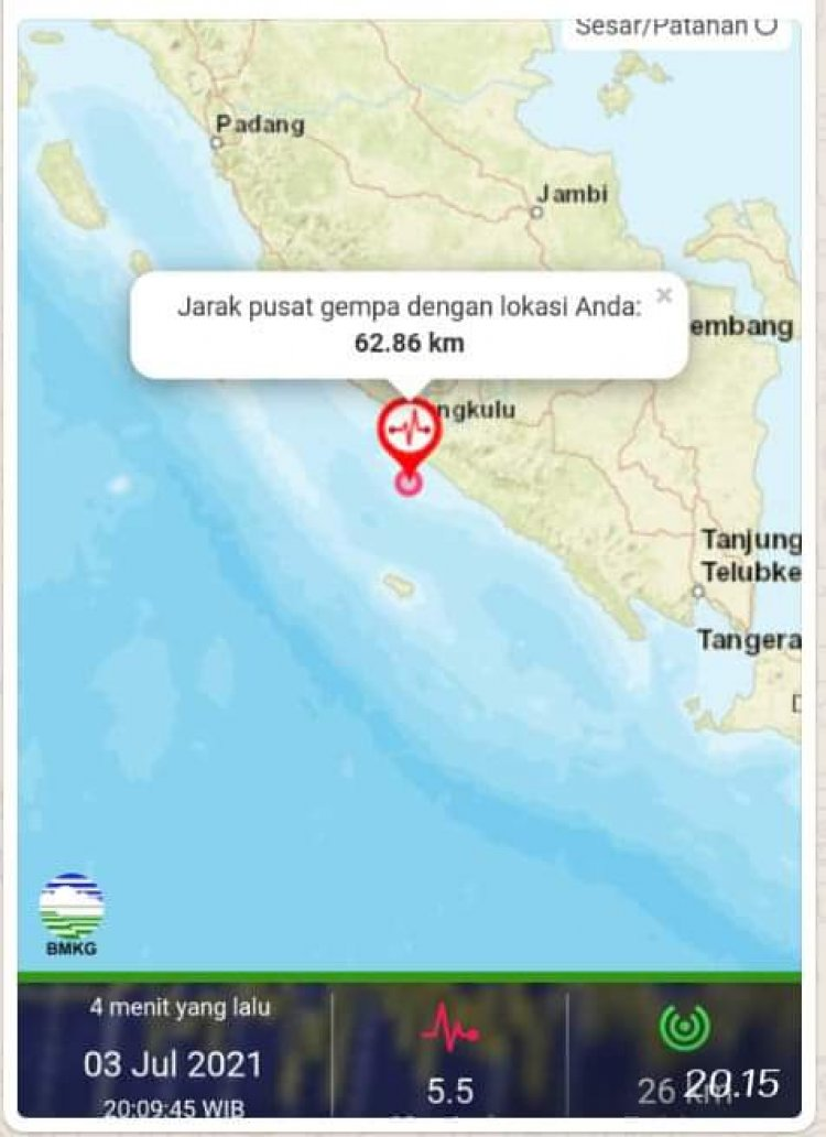 BREAKING NEWS! Gempa 5,5 Magnitudo Guncang Bengkulu