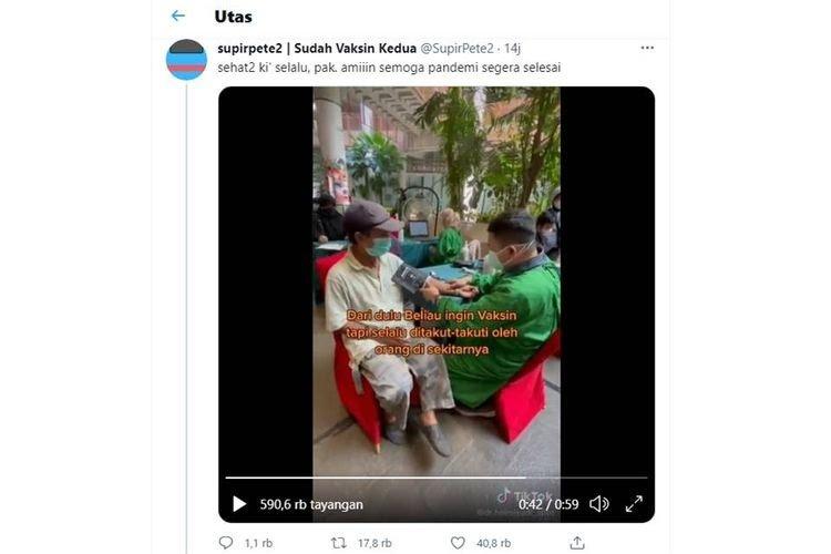 Viral, Kakek Ini Rela Kayuh Sepeda 15 KM Demi Ikut Vaksinasi, Videonya Disukai 40 Ribu Kali