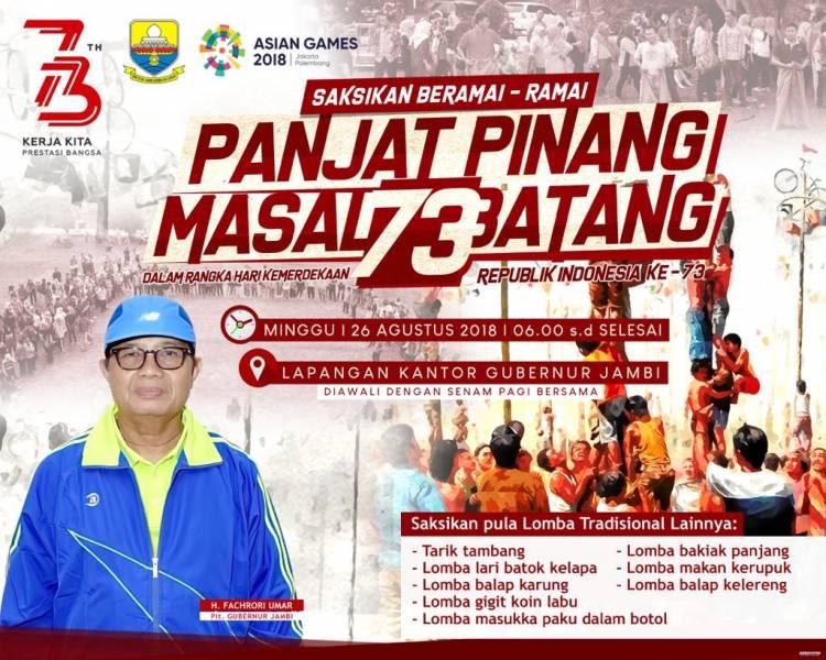 Saksikan Panjat Pinang 73 Batang di Lapangan Gubernur Jambi