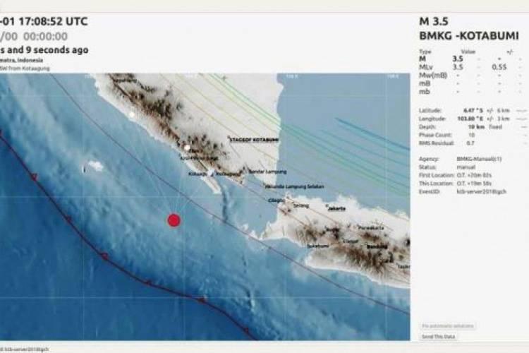 BMKG: Gempa 3,5 SR di Barat Daya Tanggamus Lampung