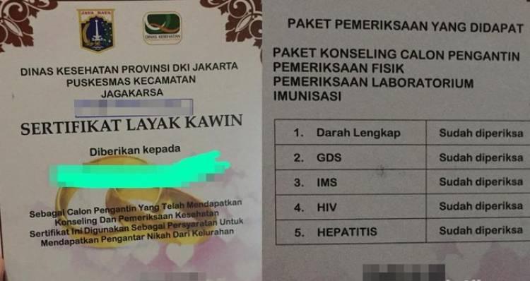 Mau Kawin Nih! Di DKI Wajib Punya Sertifikat Layak Kawin