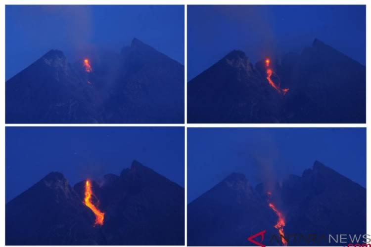 Gunung Merapi Muntahkan Sembilan Kali Lava Pijar