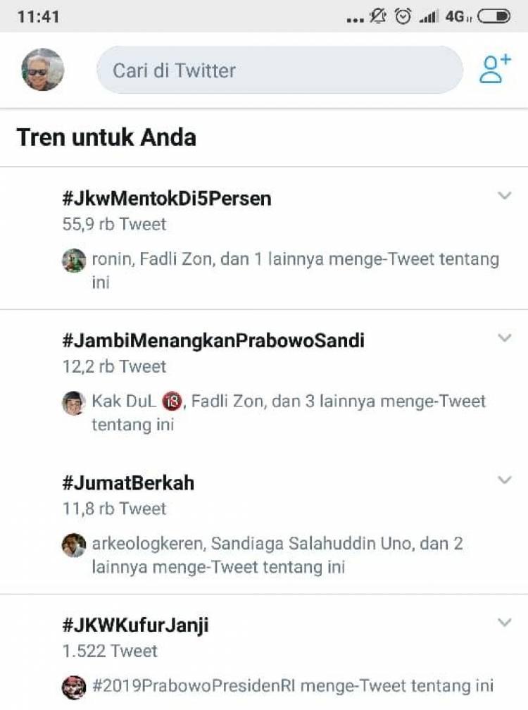 #JambiMenangkanPrabowoSandi jadi Trending Topik Twitter Pagi Ini