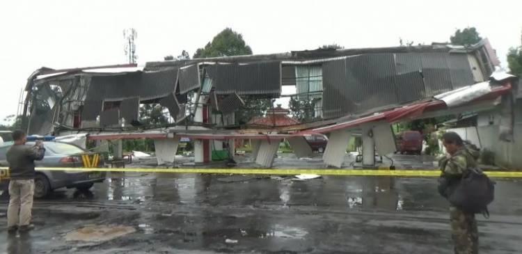 Puting Beliung Hantam SPBU di Sukabumi Hingga Rusak Berat
