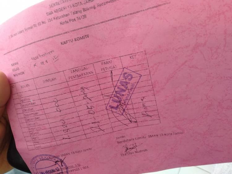 SMA N 13 Kota Jambi Pungut Uang Komite Rp1,3 Juta Per Tahun