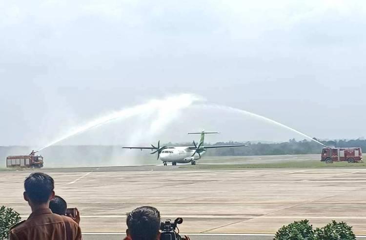 Maskapai Citilink Perdana Landing di Bandara Muara Bungo