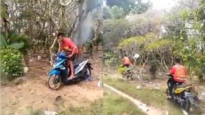 Viral Remaja Lindas Kuburan Pakai Motor, Banjir Hujatan