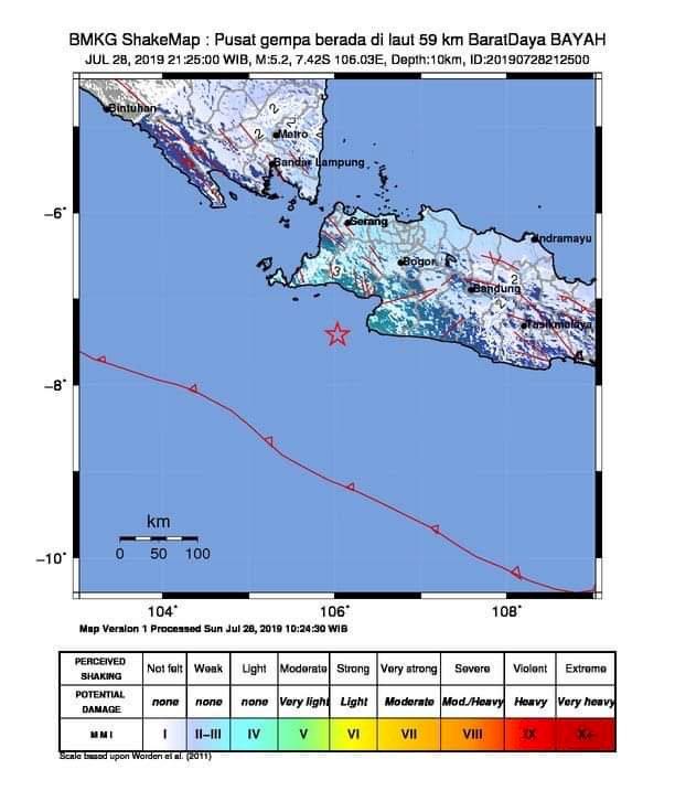 Gempa Susulan 5.2 Magnitudo Guncang Banten dan Jabar