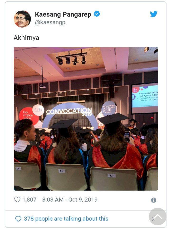 Kaesang Jokowi Wisuda di Singapura: Akhirnya..!