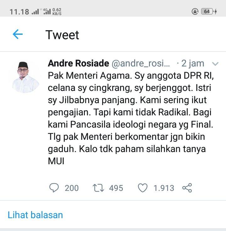 Cuitan Andre Rosiade: Pak Menag Saya Anggota DPR RI Celana Cingkrang, Tapi Kami Tidak Radikal