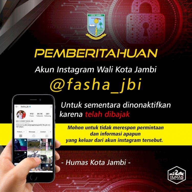 Kena Hacker, Akun Instagram Walikota Jambi Dinonaktifkan